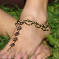 Macrame Barefoot Sandal Beige Anklet flower pendants Bridal Yoga Beach Wedding Bellydance hippie boho gypsy festival