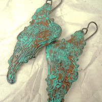 Hand Painted Angel Wings earrings, Antiqued Turquoise blue and rust, Arte Metal Earrings, Steampunk earrings
