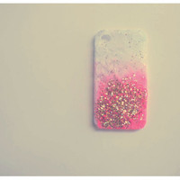 Custom color with Gold Ombre Glitter iPhone 4 case