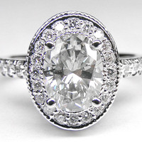 Engagement Ring - Oval Diamond Engagement Ring with double halo and diamond band in 14K White Gold 0.52 tcw. - ES321