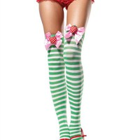 Green Striped Thigh Highs with Satin Bow -  Perfect for Rave Outfits and Clothing