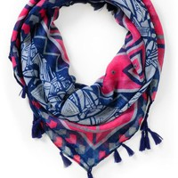 Super Trader Geo Print Navy Blue &amp; Pink Scarf