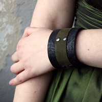 Leather Cuff Bracelet Forest Romance Black by BatwingsBattleaxes