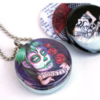 Day of the Dead Locket Necklace Set - Magnetic & Upcycled/Recycled Jewelry by ShayneoftheDead and Polarity