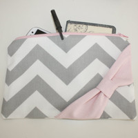 Cosmetic Case / Zipper Pouch - Gray Chevron with Light PInk Side Bow
