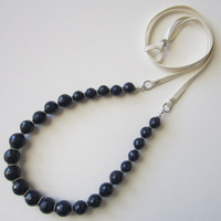 BLACK FRIDAY. Lapis Lazuli Necklace. Beaded Necklace. Leather Necklace. Boho Necklace.