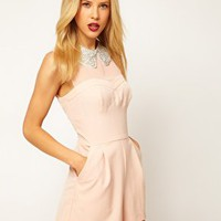 ASOS Playsuit With Embellished Collar at asos.com