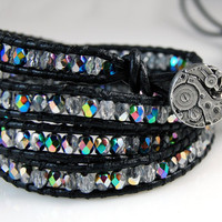 CYBER SALE - Chan Luu Style Wrap Bracelet - Crystal Vitral Czech Glass Crystals - Steampunk - Black Leather