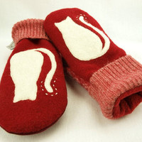 Cat Mittens Felted Wool in Red and White with Cat by ForMyDarling