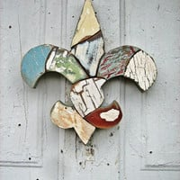 Reclaimed Wood Mosaic Art Fleur de Lis New Orleans Louisiana Decor