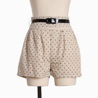 captured polka dot linen shorts