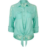 FULL TILT Lace Back Womens Tie Front Top 203134523 | Blouses &amp; Shirts | Tillys.com