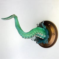 Tentacle Wall Sculpture Green with Splash by ArtAkimbo on Etsy