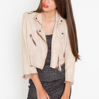 Chopped Leather Moto Jacket - Blush - NASTY GAL