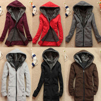 New Lady Women Hoodie Sweater Zippers Thicken Long Jacket Outerwear Winter Coat