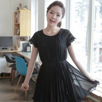 Casual Solid Black Belted Waist Fashion Dresses : Wholesaleclothing4u.com