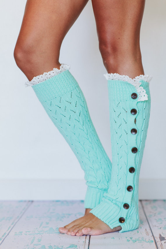 Mint Lacy Knitted Button Down Leg Warmers From Three Bird Nest