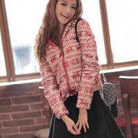 Newest Street Fashion Prints Girls Jackets Red : Wholesaleclothing4u.com
