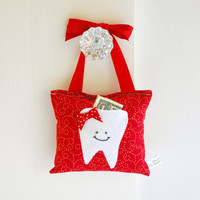 Girl's Tooth Fairy Pillow Tooth Fairy Gift in Ruby Red Cotton