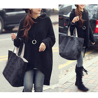 Korea Style Fashion Outerwear Women Loose Long Irregular Hem Knit Hooded Sweater