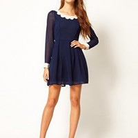 Max C Dress With Scallop Collar at asos.com
