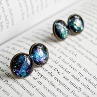 Nebula - Large Antiqued Brass Post Earrings
