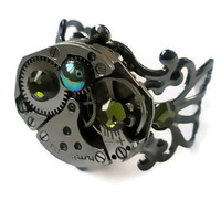 Steampunk Ring Vintage jewelry Watch RingOlive green Swarovski crystal Antique Black Filigree By Frutti Tutti Bead Candy