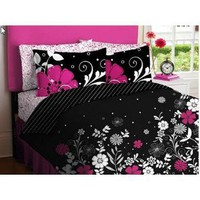 Amazon.com: Pink Black White Girls Flowered Twin Comforter Sheet Bed In A Bag Set: Home &amp; Garden