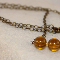 Amber Glass and Brass Necklace.