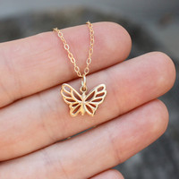 Butterfly Charm Necklace - Solid Natural Bronze Butterfly . 14K Gold Filled Chain . Free Spirits . Transformation . Graduation Gift