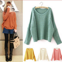 Women Retro Bat Sleeve Loose Warm Scoop Neck Knit Pullover Jumper Sweater Coat