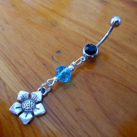 Belly Button Ring - Beaded Flower Belly Button Ring