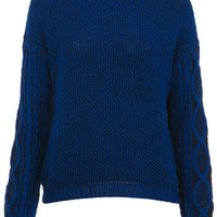 Blue Cable Sleeve Jumper