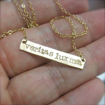 Gold Bar Necklace with Latin Quote - featured in The 32nd Annual Emmy Awards swag bag