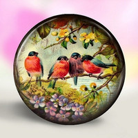 4 Birdies Pocket Mirror by littlepinkplum on Etsy