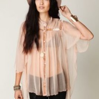 Free People FP New Romantics Chiffon Capelet at Free People Clothing Boutique