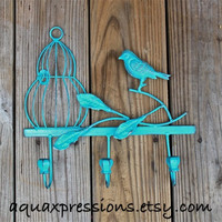 Metal Wall Hook /Turquoise Bird Cage /Shabby Chic Decor /Tree Branch /Whimsical Bathroom Hanger /Key Holder /Bedroom /Mud Room Rack /Nursery