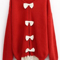 Sweet Round Neck Sweater with Bow Red - Designer Shoes|Bqueenshoes.com