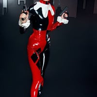 XS Harley Quinn PVC catsuit and hood from by ArtificeClothing
