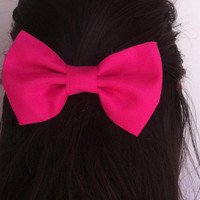 Pink bow BIG hair bow