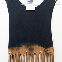 ON SALE Vintage Dip Tie Dye Fringe Tassle Ladies Top Studded Spike Shoulders Summer Upcycled Oversize Vest