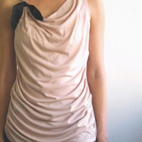 Top tank Powder pink draped tank with black by MyLolaFashion