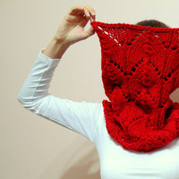 Chunky Hand Knit Cowl Scarf  in Red, Burgundy