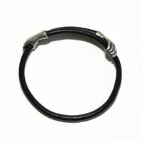 Self Embracing Black Leather Bracelet with Sterling Silver Hands