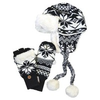 MUK LUKS Fur Trapper Hat with Flip Gloves