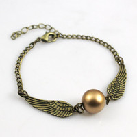 Golden Snitch Bracelet In BRASS- Steampunk Harry Potter Golden Snitch Keepsake----sale