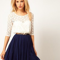 ASOS Skater Dress With Spot Lace &amp; Mesh Skirt at asos.com