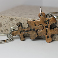 Husband and Wife Puzzle Pieces Interlocking  Key chains Personalized