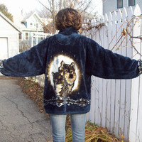 SALE See Shop For Coupon Code Howl At The Moon Navy Plush Faux Fur Wolf Jacket Oversized Slouchy Fit Size Large