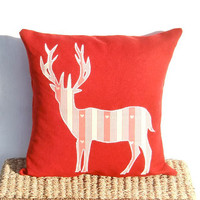 Deer Stag Cushion, Red Deer Linen Cushion Pillow, Cottage Chic, Country Décor, Christmas Cushion Pillow